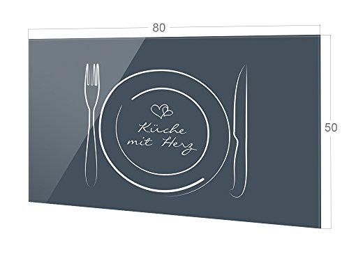GRAZDesign Fliesenspiegel Küche Spruch Küche mit Herz - Glasrückwand Küche Besteck - Küchenrückwand Glas grau/blau / 80x50cm / 200271_80x50_SP