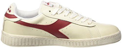 Diadora Game L Low Waxed, Pompes à plateforme plate mixte adulte Bianco (Bianco/Rosso Peperone)
