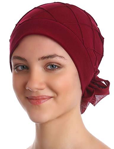 Deresina Headwear Diamant-Muster Mutze für Haarverlust, Krebs, Chemo (Burgund)