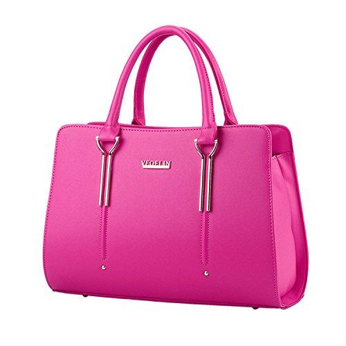 Myleas 2017 Womens Summer Pure Colore Pu Tote borse in pelle borsa Top Handle Handbag Rose