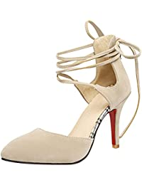 SHOWHOW Damen Elegant Low Top Spitz Zehe High Heels Pumps Pink 36 EU