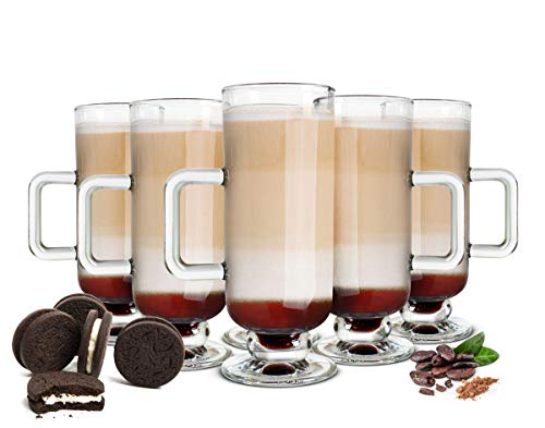 Sendez 6 Irish Coffee Gläser 250ml und 6 Löffel Kaffeegläser Glühweingläser Eiskaffee Teegläser mit Henkel
