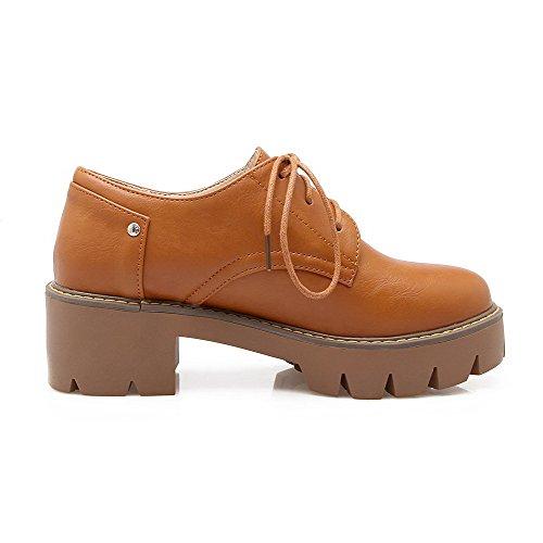 VogueZone009 Damen Mittler Absatz Eingelegt Schnüren Weiches Material Pumps Schuhe Braun