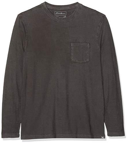 Eddie Bauer Herren Legend Wash Slub-Shirt - Langarm mit Tasche, Gr. XL, Schwarz -
