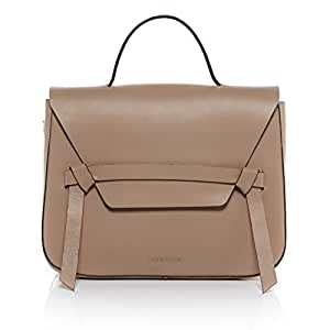 """FEYNSINN cartable """"satchel"""" ELIN - sac à bandoulière approprié pour 13, iPad - sac de collège avec bretelle beige en cuir véritable (33 x 25 x 10 cm)"""