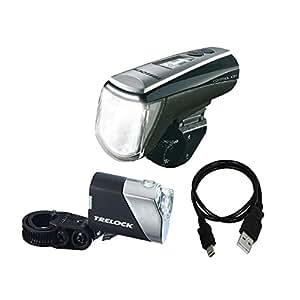 Trelock 8002427 LS 950 Control ION + LS710 Reego Set d'éclairage pour vélo piles incluses Noir