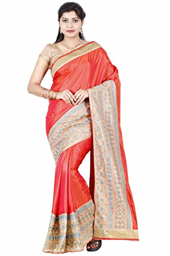 The Chennai Silks - Embellished Art Silk Saree - Orange - (CTCSSY095)