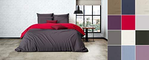 Uni Einfarbig Wende Bettwäsche Mistral Home Edel Perkal 100% Ägyptische Baumwolle, Größe:135x200cm Bettwäsche, Farbe:Jester Red-Shale Taupe -