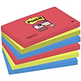 Post-it 6556SJ Haftnotiz Super Sticky Notes, 127 x 76 mm, 6 Blöcke à 90 Blatt, mohnrot, neongrün, ultrablau - in weiteren Größen verfügbar