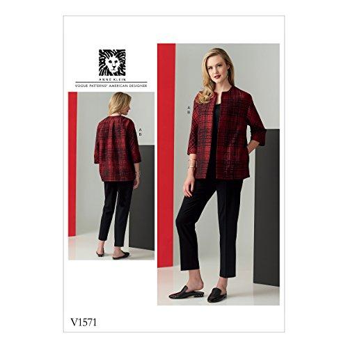 Wolle Gabardine (Vogue Mustern Schnittmuster Jacke und Hose, Tissue, Mehrfarbig, 20x 0,5x 25cm)