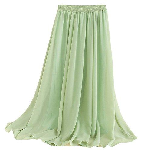 Women Chiffon Boho Plissee Retro Maxi langer Rock-elastischen Bund Tanz-Kleid