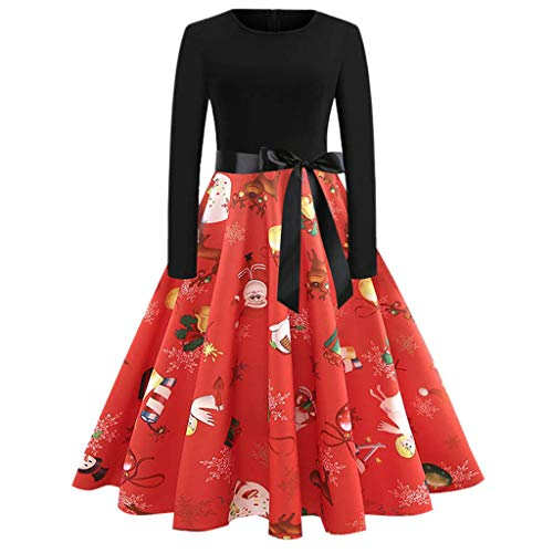 Damen Swing Kleid UFODB Frauen Partykleider Vintage 50er -