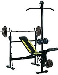 Banco de Pesas Ejercicios de Musculación 175x110x202cm Fitness con Respaldo Regulable Polea Alta Cuerda Color Negro