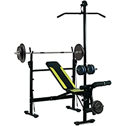 Banc de Musculation Fitness Entrainement Complet Dossier réglable Cordes Traction Curler Supports Barre et haltères Noir et Jaune