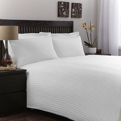 100% Egyptian Cotton Luxury White Satin Stripe Duvet Cover Bedding Set - cheap UK light shop.