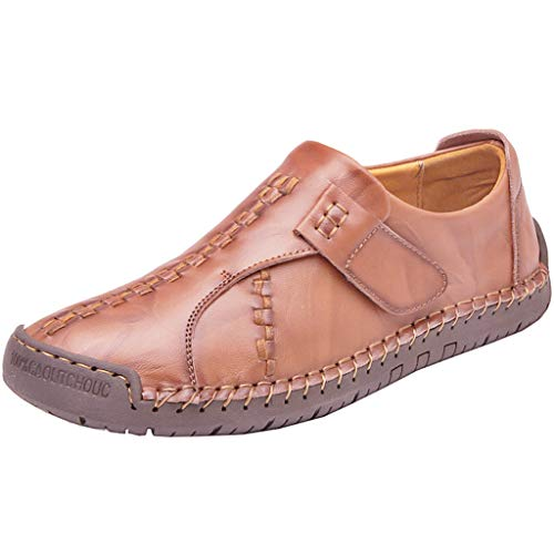 KonJin Mens Moccasins Loafers Fashion Solid Color Round Toe Sewing Flat Heel Shallow Mouth Leather Wedding Business Shoes Unisex Classic Chap