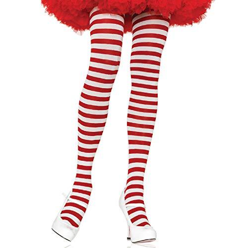 lus Größe Gestreiftes Strümpfhose Kostüm Damen Karneval, weiß/rot, Größe: (EUR 42-46) ()