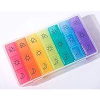 Pastillero Semanal Caja de Pastillas Pastillero Diario de Viaje, 7 dias 21 Compartimientos con Logo de patrón de Color Simple