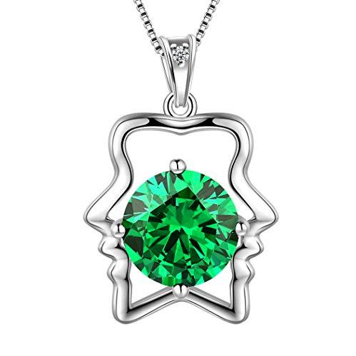 nge Halskette 925 Sterling Silber 12 Sternzeichen Anhänger Konstellation kann Birthstone Halskette CZ Horoskop Schmuck Geschenk für Frauen und Mädchen DP0134G ()