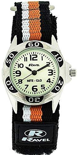 RAVEL NITE-GLO Quarz-Armbanduhr für jungen mit leuchtendem Ziffernblatt und schwarz-orange-weißem Klettband R1704.8