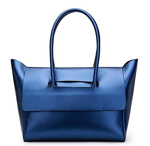 Xinmaoyuan Borse donna borsette in cuoio semplice e generosa femmina portatile Big Bag bovini Tote Bag morbida tracolla messenger bag,Golden Blue