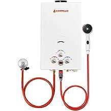 Camplux Calentador de agua portátil de 10 l para exteriores con regulador CE