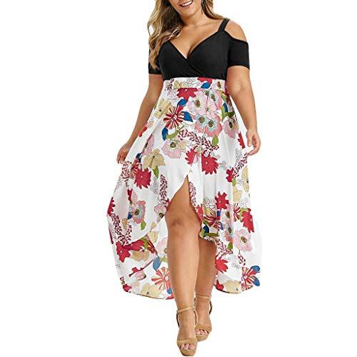 062ed2c36 Vestidos Estampados Flores Mujer de Manga Corta Cintura Alta con Cinturón  Vintage Bohemio Hippie Falda para Playa Noche Ceremonia Fiesta Fuera del ...