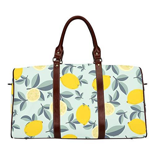 Reisetasche Blühende Zitrone Holzige Pflanze wasserdichte Weekender-Tasche Reisetasche Frauen Damen-Einkaufstasche Mit Mikrofaser-Leder-Gepäcktasche