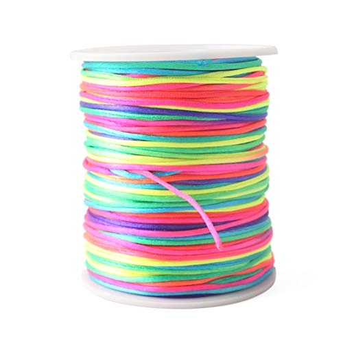baby tete DIY Satin Nylon Rainbow Cord Perfect for Handmade Teething Jewelry  for Sensory Toy 75m 65b224442bb