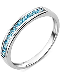 Miore Women's 9 ct White Gold Round Topaz Eternity Ring