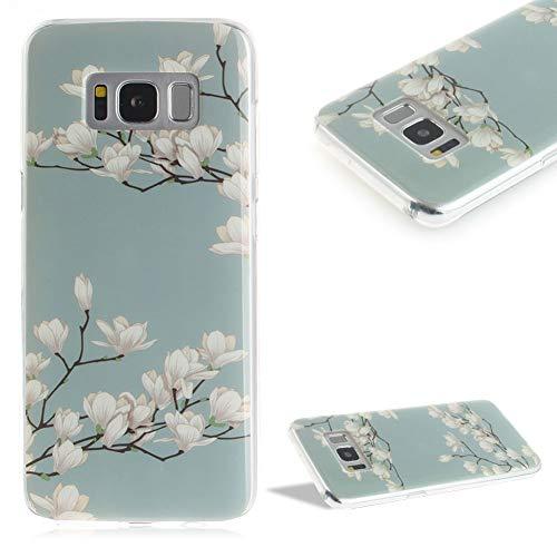 Kristall Silikon Hülle für Samsung Galaxy S8,CESTOR Luxus 3D Gemalter Entwurf Ultra Dünn Weich Flexibel TPU Gummi Stoßdämpfend Leicht Schutzhülle für Samsung S8,Magnolie