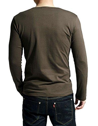 MEXI Herren V-Ausschnitt Slim Fit Langarm T-shirt Hemd lässig Oberteile Top M-XXL Kaffee