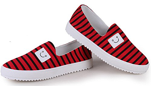 Aisun Femme Mignon Sourire Rayures Slip On Sneakers Rouge