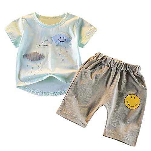 Neu 2 Stück Velour-outfit (Julhold Kleinkind Kinder Baby Jungen Mode Niedlichen Cartoon Kurzarm T Shirt Tops Shorts 2 STÜCKE Outfits Set 0-3 Jahre)