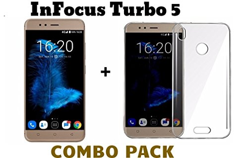 M.G.R.J Tempered Glass + Transparent Back Cover [Combo Pack] for Infocus Turbo 5