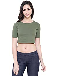 COA Womens Organic Cotton Plane FINE & Dandy Solid Olive Green Crop Top for Women with Round Neck and Short Box Sleeves