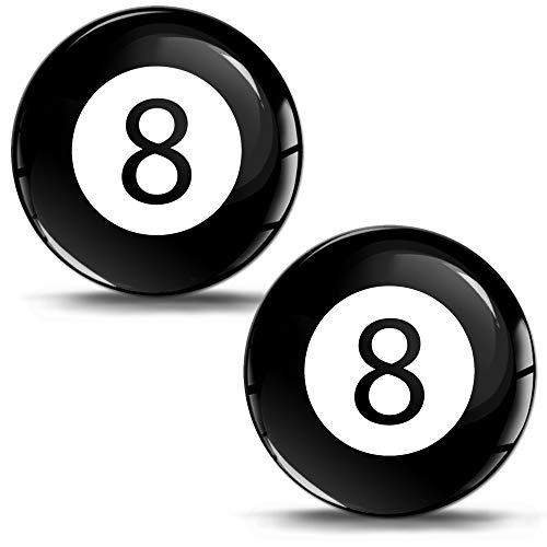 SkinoEu® 2 x Aufkleber 3D Gel Silikon Stickers Sport Spiel Billard Kugel Schwarz Billardkugel Zahl Nummer 8 Auto Moto Motorrad Fahrrad Skate Fenster Tür PC Tablet Laptop KS 40