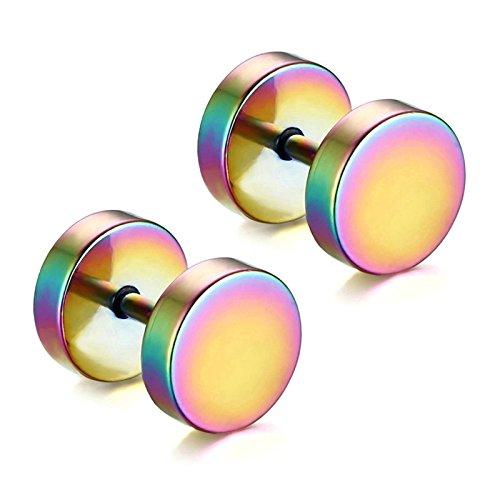 Aooaz 1 Paare / 2 Stück Creole Ohrringe 5mm Edelstahl Allergiefrei Mehrfarbig Runde Ohrstecker Ohrringe für Damen und Herren Frauen Männer