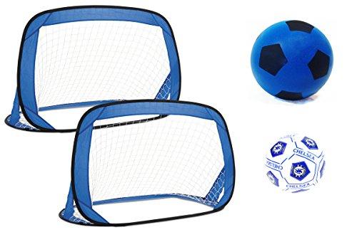 r Pop-Up-Fußballtore–Set of 2Ziel für eine regelrechte Match + One Schaumstoff Fußball + 1Mini Sprint Weiß Größe 1Chelsea Football (Pop-up Ziel)