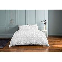 Sleepdown Rouched Pleats Bedding Duvet Set (White, Super King Size Bedding) Duvet Set with Pillowcases