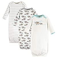Touched by Nature Baby Organic Cotton Gowns, Gray Elephant 3-Pack, 0-6 Months