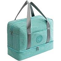 Young & Ming Impermeable Bolsa de Deporte con Compartimento para Zapatos Bolsa de Gimnasio Grande Bolsa de Viaje Bolsa Fin de Semana para Hombre/Mujer, 20L-Azul Claro