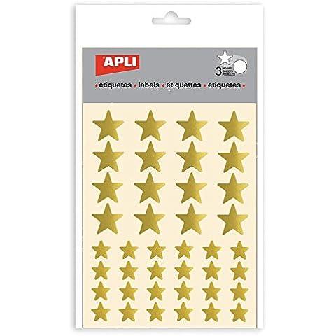 APLI - Pegatinas Estrella color oro - 3 Hojas Apli