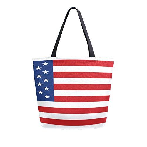 Usa Flagge American Pround Tragbare Große Doppelseitige Casual Leinwand Tragetaschen Handtasche Schulter Wiederverwendbare Einkaufstaschen Reisetasche Für Frauen Männer Lebensmittelgeschäft Reise