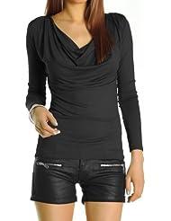 Bestyledberlin Damen Shirt, Bluse, Longsleeve mit Wasserfallausschnitt Top t51p