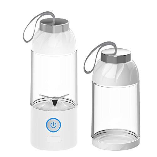 mezclador liso de vidrio portátil, carga USB, cuchilla de acero inoxidable 2 para viajes personales, jugo, vibración y alimentos para bebés, licuadora con vaso para jugo, amarillo, blanco