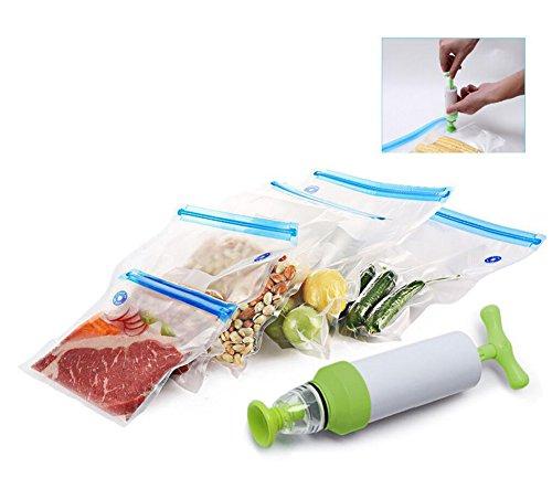 Sous Vide Taschen Kit, Meiwo 5 BPA-frei Lebensmittel Vakuum-Beutel und 1 Handpumpe, ideal zum Heizen, Kochen, Einfrieren Lagerung (vakuumversiegelte Beutel mit 5 verschiedenen Größen)