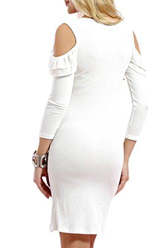 INFINIE PASSION - Épaule dénudée et volant - Robe moulante blanche Blanc