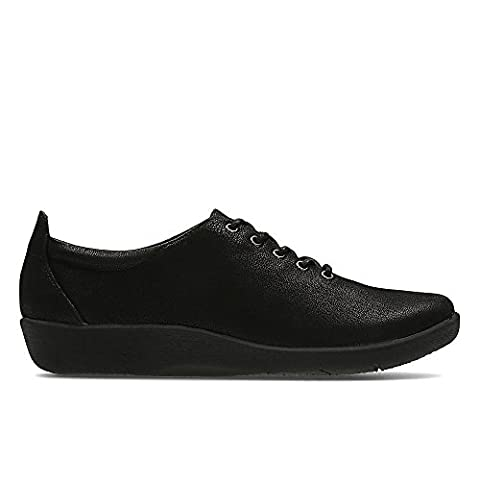 Clarks Women's Cloud Steppers Lace-Up Flats Shoes Sillian Tino Black
