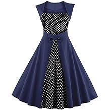 Babyonlinedress Vestido de lunares estilo vintage y trapecio de la falda plisada vestido de noche para fiesta de coctel sin mangas cuello cuadrado